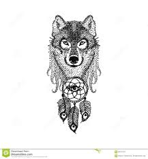 dotwork design stylized wolf with catcher han