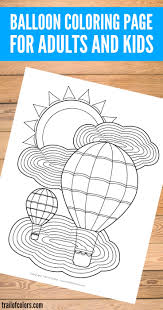 balloon coloring page for adults and kids trail of colors