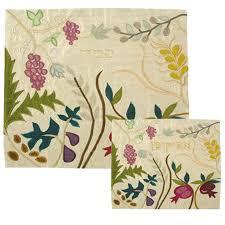 afikomen cover silk applique d matzah cover and afikomen bag seven species white