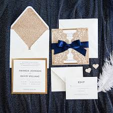 navy wedding invitations gold and navy blue glitter wedding invitations with