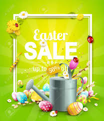 easter egg sale easter sale flyer with flowers easter eggs and watering can