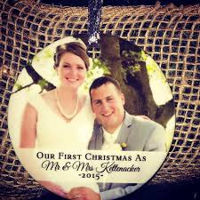 our first christmas newlywed photo ornament personalized holiday