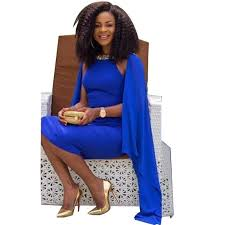 african royal blue evening dresses tea length caped beaded with