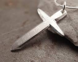 traditional christian cross midsize sterling silver pendant