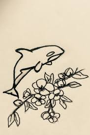 vintage orca killer whale tattoo idea flower tattoo