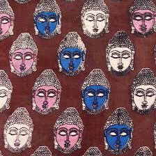 buy maroon blue and pink small buddha printed cotton kalamkari