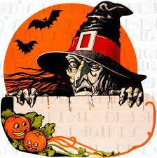 vintage halloween cartoons rare ugly creepy witch over fence vintage halloween