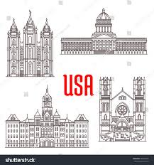 Utah travel state images Famous buildings icons usa salt lake stock vector 503979436 jpg