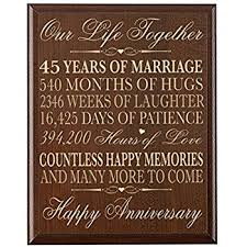 45 year anniversary gift parents 45th wedding anniversary gifts wall plaque for