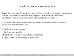 Sales Coordinator Resume Sample by Hotel Sales Coordinator Cover Letter