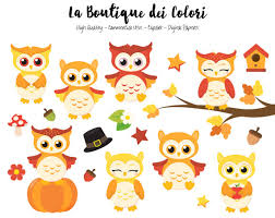 fall owls clipart digital graphics png birds autumn