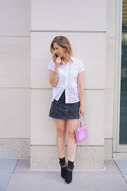 Short Skirts High Heels Shirt Eyelet Top White Shirt Short Sleeve Skirt Denim Skirt