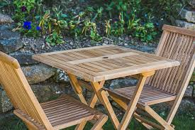 Folding Patio Table And Chair Set Teak Patio Table And Chair Set Garden Furniture Land With Regard