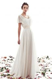 wedding dress simple a line lace up simple sleeves vintage wedding dress