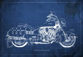 What Size Paper Are Blueprints Printed On by 2016 Indian Chief Vintage Blueprint Art Print 8x12in And Larger