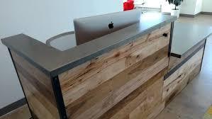Wood Reception Desk Handmade Reclaimed Wood Steel Reception Desk By Re Dwell