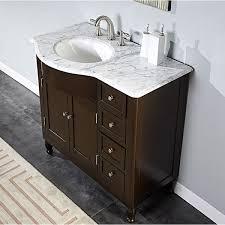 Bathroom Single Sink Vanity by Silkroad Exclusive 38 Inch Carrara White Marble Stone Top Bathroom