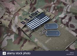 Ir American Flag Patch Us Flag Patch With Dog Tag On Multicam Camouflage Uniform Stock