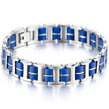 bracelet stainless steel images Mowom silver blue stainless steel rubber bracelet link wrist i jpg