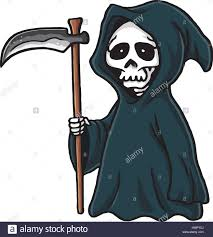 cartoon halloween pic grim reaper cute cartoon skeleton halloween vector illustration