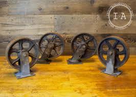 vintage industrial furniture casters antique wheels cast iron metal