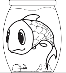 free printable cartoon fish in a fishbowl coloring page for kids