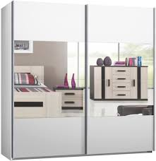 Schlafzimmerschrank Cabinet Schwebetürenschrank Kleiderschrank Ca 225 Cm Weiss Mit Spiegel