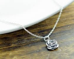 rose silver necklace images Silver rose necklace etsy jpg