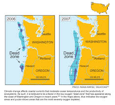 Oregon Beaches Map by Pacific Coast Dead Zones Global Climate Change Impacts In The