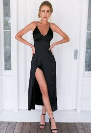 black satin side split maxi dress