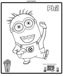 minion phil coloring u2013 show coloring pages kids