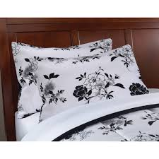 mainstays black and white floral bed in a bag comforter set