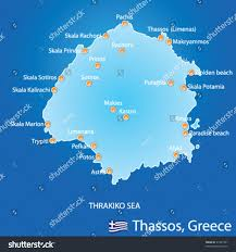 Greece Map Blank by Island Thassos Greece Map On Blue Stock Vector 91241591 Shutterstock