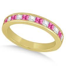 pink wedding rings channel pink sapphire diamond wedding ring 18k yellow gold 0 70ct