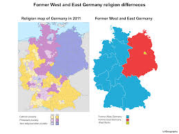 East Germany Map by Former West And East Germany Religion Differences Vivid Maps