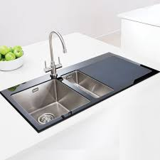 Black Glass Kitchen Sinks Caple Vitrea One And A Half Bowl Glass And Stainless Steel Kitchen