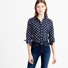 j crew perfect shirt in scattered daisy in blue lyst