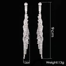 silver dangle earrings for prom treazy bridal tassel earrings sparkly silver color