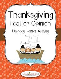 thanksgiving fact or opinion literacy center activity