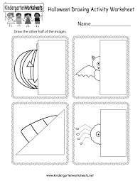 free printable halloween drawing activity worksheet for kindergarten