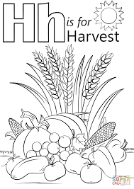 letter h is for harvest coloring page free printable coloring pages