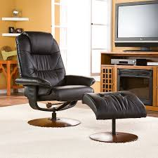 Best Leather Chair And Ottoman Amazon Com Bonded Leather Recliner And Ottoman Black Kitchen