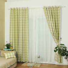 classic green polyester plaid curtain for kids room
