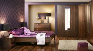 Purple Hardwood Flooring Dark Brown Wooden Bedside Table Dark Purple Bedroom Walls Black