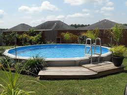 pool image of backyard decoration using solid wooden timber