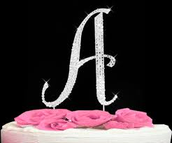 letter wedding cake toppers completely covered swarovski wedding cake topper