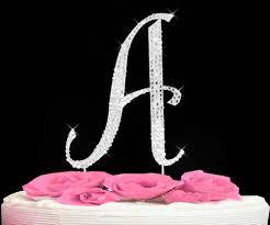 letter cake topper completely covered swarovski wedding cake topper