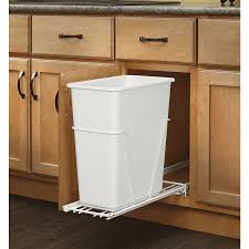 Single Kitchen Cabinet Wooden Trash Bin Single White Plastic Container One Towel Bar Tilt