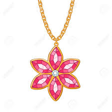 red flower necklace images Hand drawn red flower pendant necklace rubies and diamond jewelry jpg