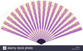 asian fan with linear flower pattern in purple shades stock vector